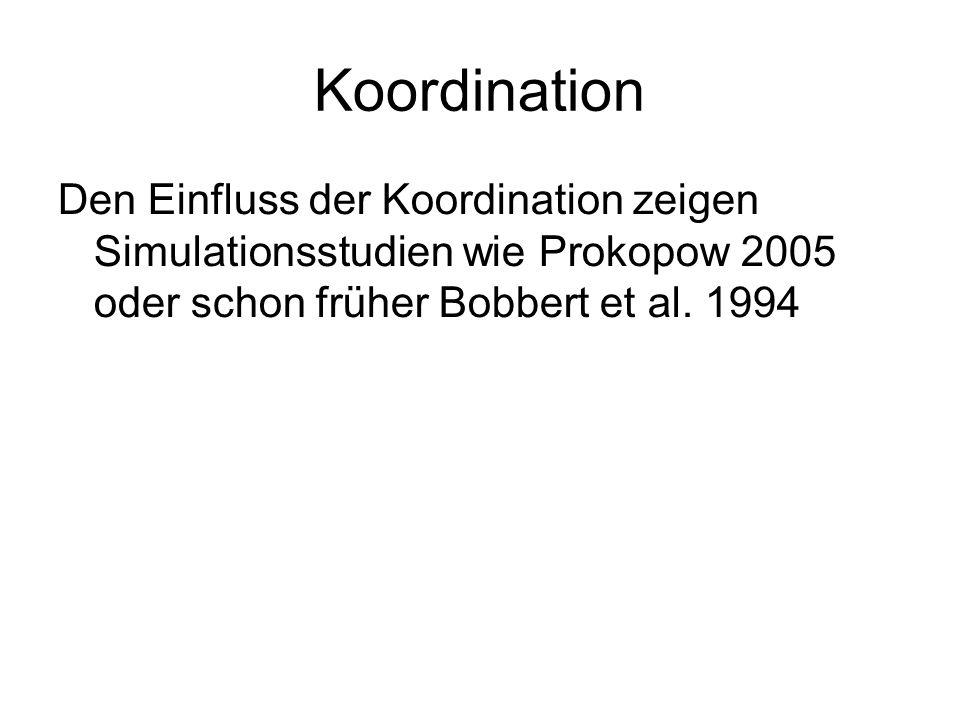 Koordination Den Einfluss der Koordination zeigen Simulationsstudien wie Prokopow 2005 oder schon früher Bobbert et al. 1994