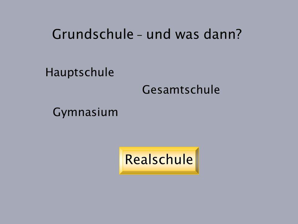 Grundschule – und was dann? Hauptschule Gesamtschule Gymnasium Realschule