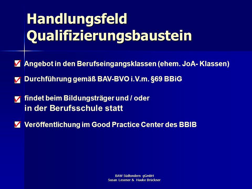 BAW Südtondern gGmbH Susan Lesener & Hauke Brückner beinhaltet betriebliche Aufgabenstellungen beinhaltet konkrete Ausbildungsanforderungen findet bei