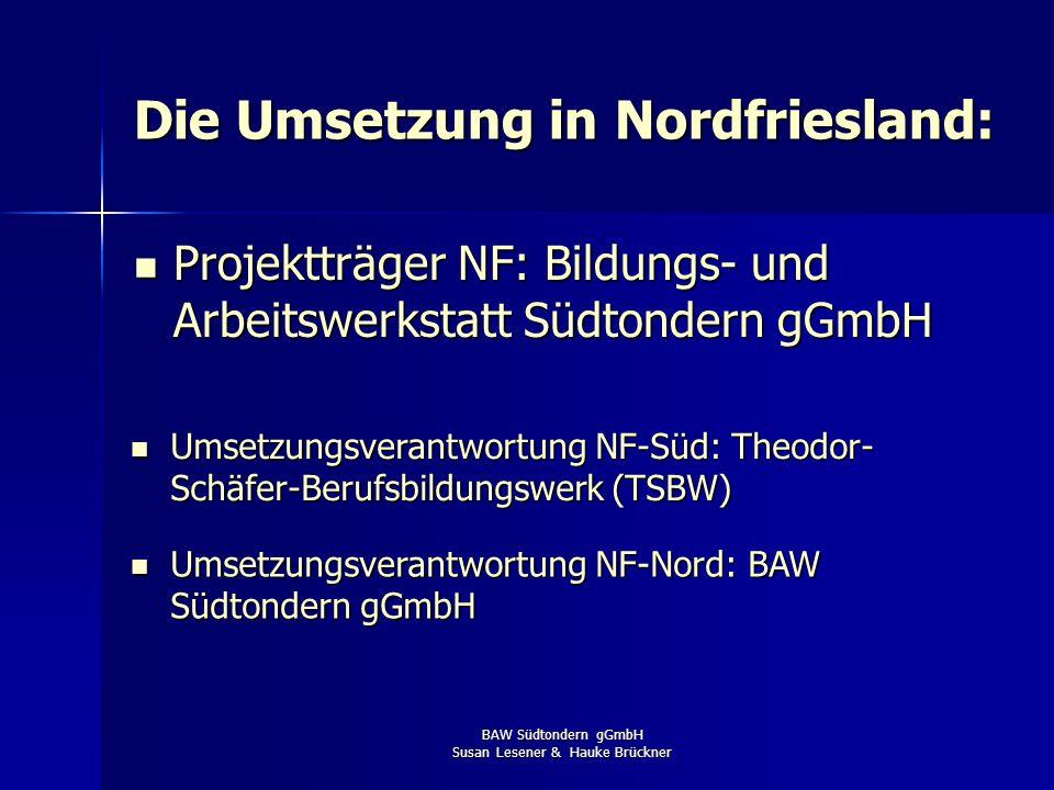 BAW Südtondern gGmbH Susan Lesener & Hauke Brückner Veröffentlichung im Good Practice Center des BBIB Durchführung gemäß BAV-BVO i.V.m. §69 BBiG finde