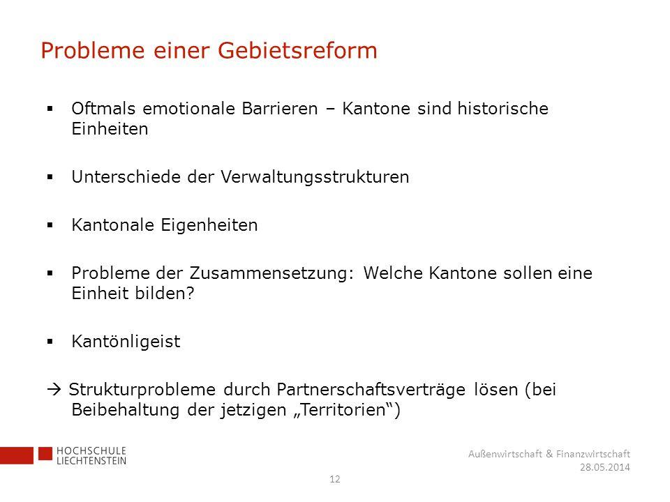 Probleme einer Gebietsreform Oftmals emotionale Barrieren – Kantone sind historische Einheiten Unterschiede der Verwaltungsstrukturen Kantonale Eigenh