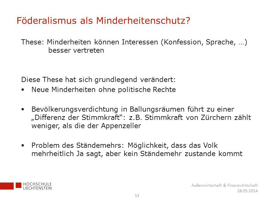 Föderalismus als Minderheitenschutz? These: Minderheiten können Interessen (Konfession, Sprache, …) besser vertreten Diese These hat sich grundlegend
