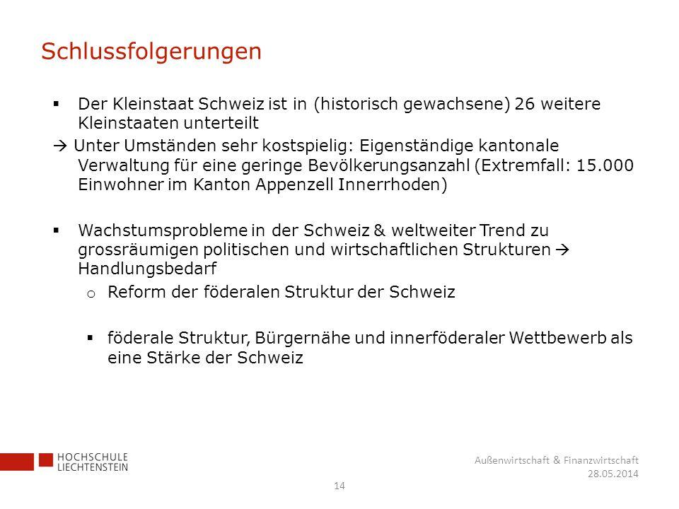 Schlussfolgerungen 14 Außenwirtschaft & Finanzwirtschaft 28.05.2014 Der Kleinstaat Schweiz ist in (historisch gewachsene) 26 weitere Kleinstaaten unte