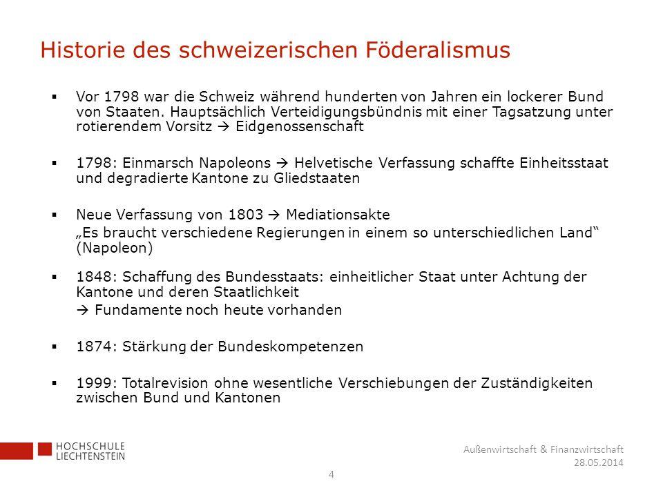 Historie des schweizerischen Föderalismus Vor 1798 war die Schweiz während hunderten von Jahren ein lockerer Bund von Staaten. Hauptsächlich Verteidig