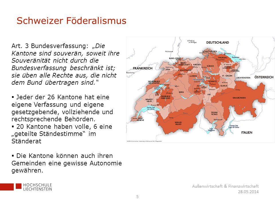 Schweizer Föderalismus 5 Außenwirtschaft & Finanzwirtschaft 28.05.2014 Art. 3 Bundesverfassung: Die Kantone sind souverän, soweit ihre Souveränität ni