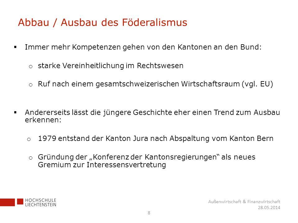 Abbau / Ausbau des Föderalismus Immer mehr Kompetenzen gehen von den Kantonen an den Bund: o starke Vereinheitlichung im Rechtswesen o Ruf nach einem