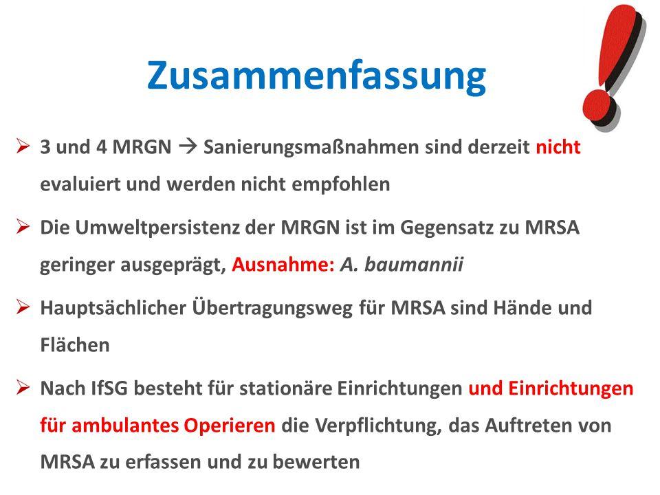 3 und 4 MRGN Sanierungsmaßnahmen sind derzeit nicht evaluiert und werden nicht empfohlen Die Umweltpersistenz der MRGN ist im Gegensatz zu MRSA gering