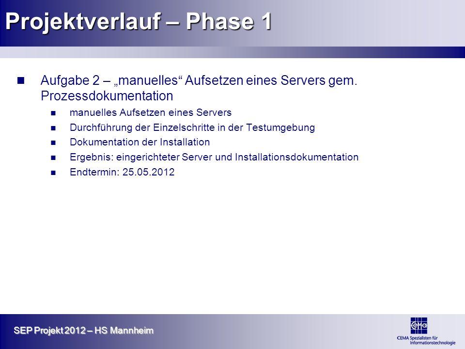 SEP Projekt 2012 – HS Mannheim Projektverlauf – Phase 1 Aufgabe 2 – manuelles Aufsetzen eines Servers gem. Prozessdokumentation manuelles Aufsetzen ei