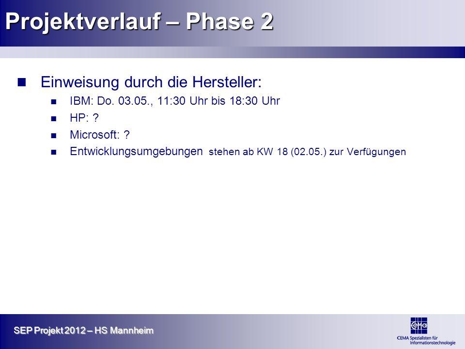 SEP Projekt 2012 – HS Mannheim Projektverlauf – Phase 2 Einweisung durch die Hersteller: IBM: Do. 03.05., 11:30 Uhr bis 18:30 Uhr HP: ? Microsoft: ? E