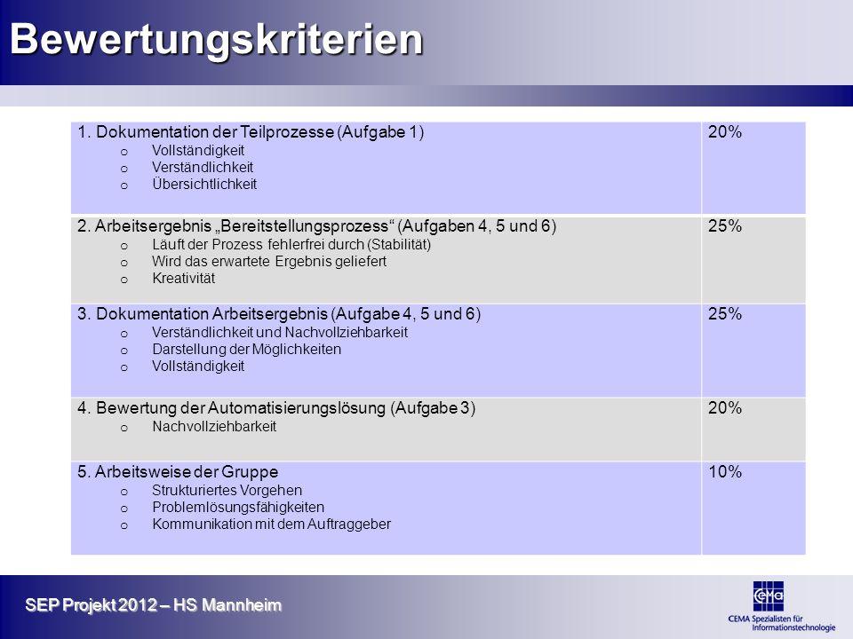 SEP Projekt 2012 – HS Mannheim Bewertungskriterien 1. Dokumentation der Teilprozesse (Aufgabe 1) o Vollständigkeit o Verständlichkeit o Übersichtlichk
