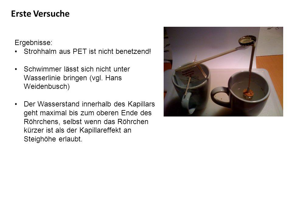Erste Versuche Ergebnisse: Strohhalm aus PET ist nicht benetzend! Schwimmer lässt sich nicht unter Wasserlinie bringen (vgl. Hans Weidenbusch) Der Was