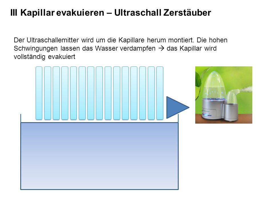 III Kapillar evakuieren – Ultraschall Zerstäuber Der Ultraschallemitter wird um die Kapillare herum montiert. Die hohen Schwingungen lassen das Wasser