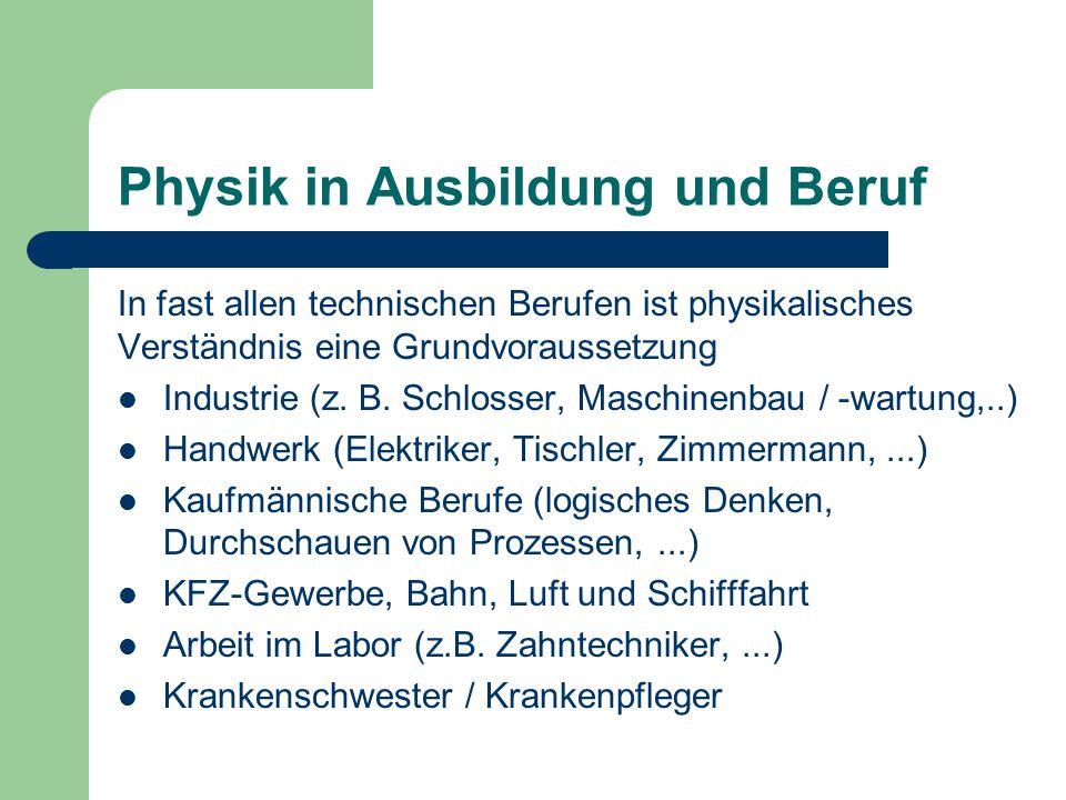 Physik in Ausbildung und Beruf In fast allen technischen Berufen ist physikalisches Verständnis eine Grundvoraussetzung Industrie (z. B. Schlosser, Ma