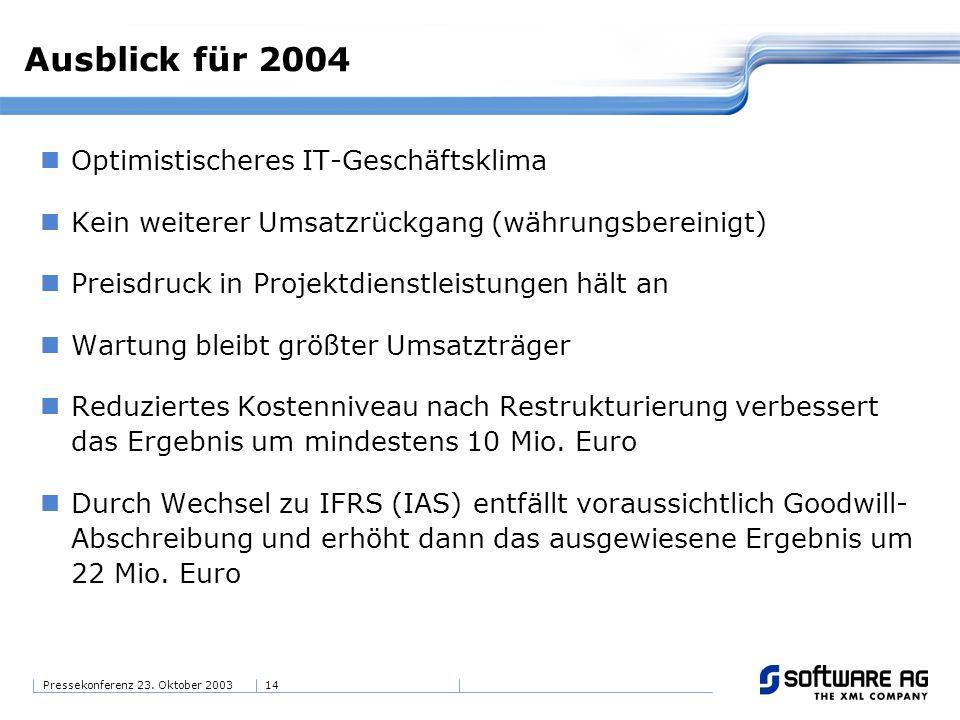 14Pressekonferenz 23. Oktober 2003 Ausblick für 2004 Optimistischeres IT-Geschäftsklima Kein weiterer Umsatzrückgang (währungsbereinigt) Preisdruck in