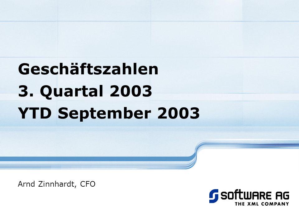 Geschäftszahlen 3. Quartal 2003 YTD September 2003 Arnd Zinnhardt, CFO