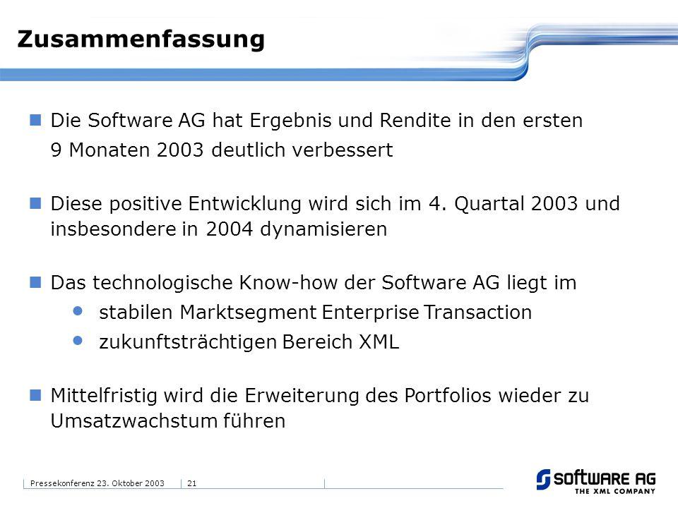 21Pressekonferenz 23. Oktober 2003 Zusammenfassung Die Software AG hat Ergebnis und Rendite in den ersten 9 Monaten 2003 deutlich verbessert Diese pos