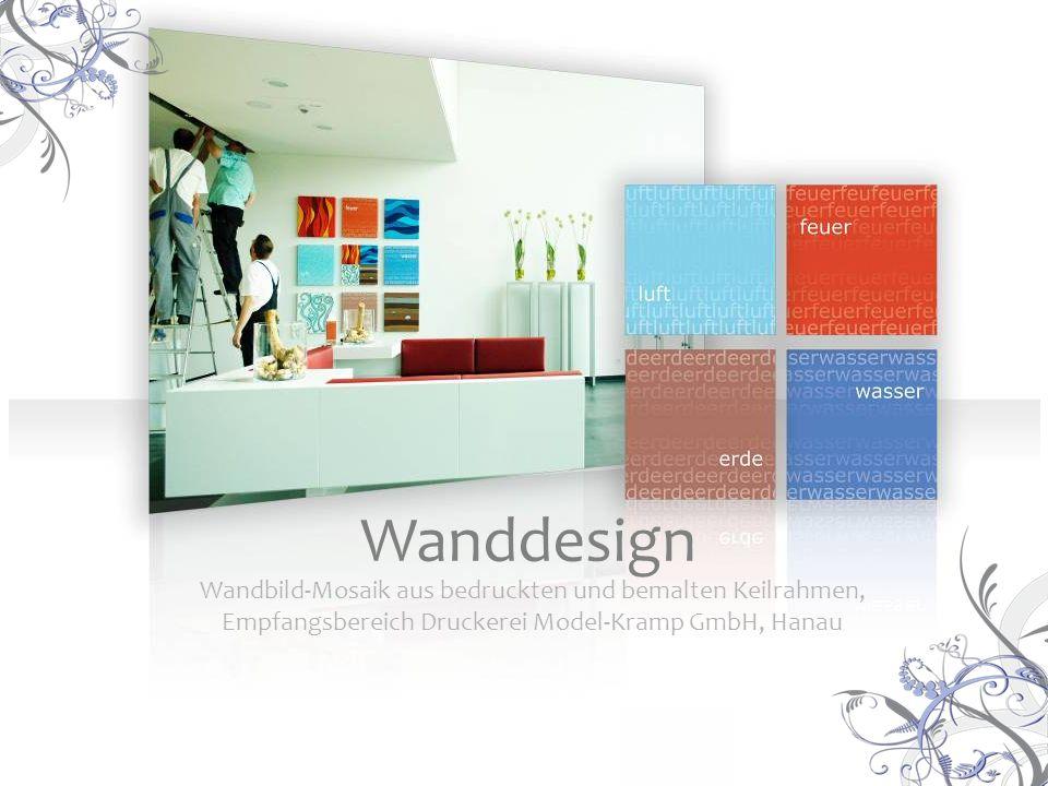 Wandbild-Mosaik aus bedruckten und bemalten Keilrahmen, Empfangsbereich Druckerei Model-Kramp GmbH, Hanau Wanddesign