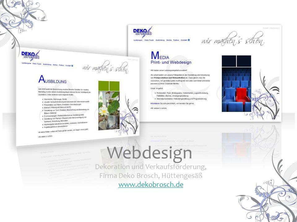 Dekoration und Verkaufsförderung, Firma Deko Brosch, Hüttengesäß www.dekobrosch.de Webdesign