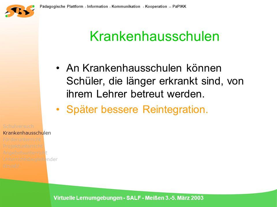 Pädagogische Plattform - Information - Kommunikation - Kooperation -- PäPIKK Virtuelle Lernumgebungen - SALF - Meißen 3.-5. März 2003 Krankenhausschul