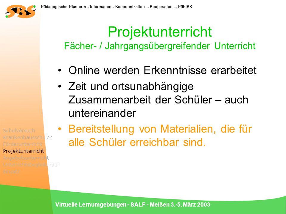 Pädagogische Plattform - Information - Kommunikation - Kooperation -- PäPIKK Virtuelle Lernumgebungen - SALF - Meißen 3.-5. März 2003 Projektunterrich