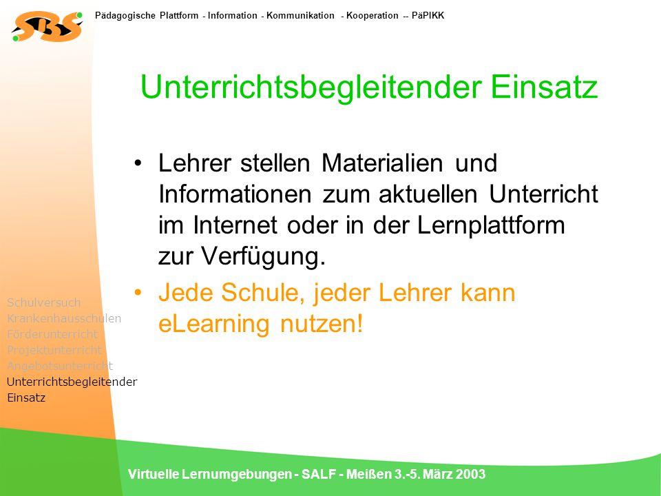 Pädagogische Plattform - Information - Kommunikation - Kooperation -- PäPIKK Virtuelle Lernumgebungen - SALF - Meißen 3.-5. März 2003 Unterrichtsbegle