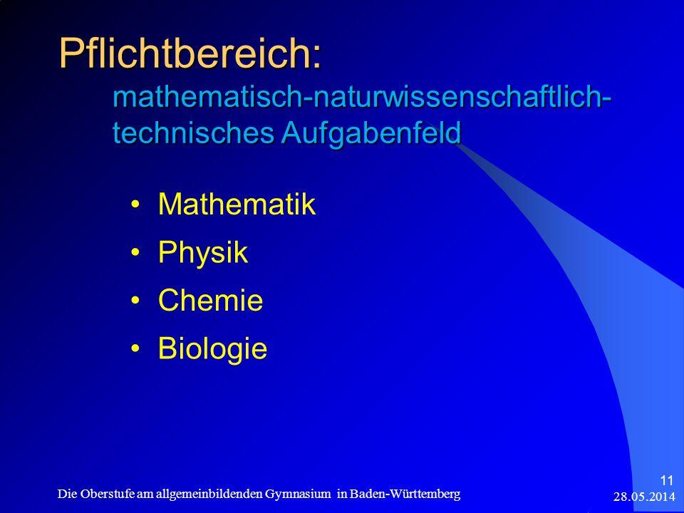 Pflichtbereich: mathematisch-naturwissenschaftlich- technisches Aufgabenfeld Mathematik Physik Chemie Biologie 28.05.2014 Die Oberstufe am allgemeinbildenden Gymnasium in Baden-Württemberg 11