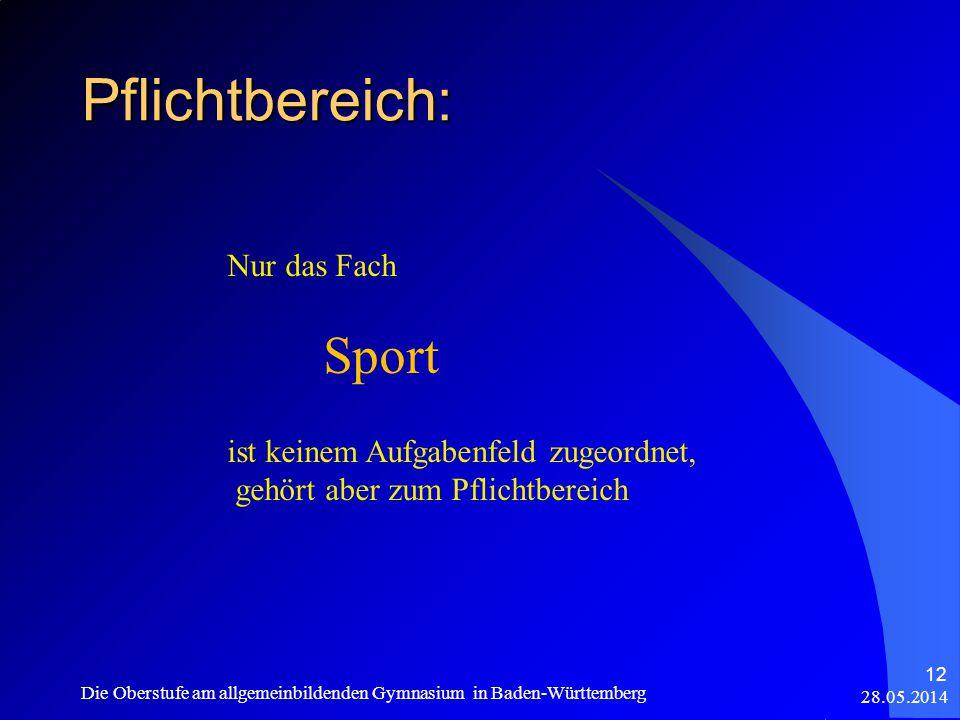 Pflichtbereich: 28.05.2014 Die Oberstufe am allgemeinbildenden Gymnasium in Baden-Württemberg 12 Nur das Fach Sport ist keinem Aufgabenfeld zugeordnet, gehört aber zum Pflichtbereich