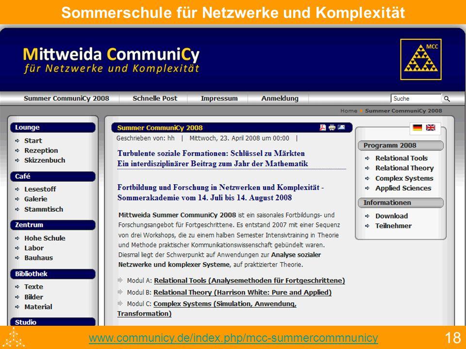 18 Sommerschule für Netzwerke und Komplexität www.communicy.de/index.php/mcc-summercommnunicy