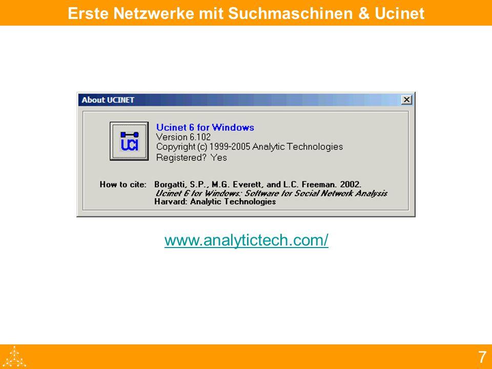 7 Erste Netzwerke mit Suchmaschinen & Ucinet www.analytictech.com/