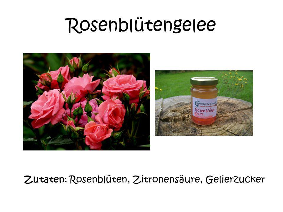 Rosenblütengelee Zutaten: Rosenblüten, Zitronensäure, Gelierzucker