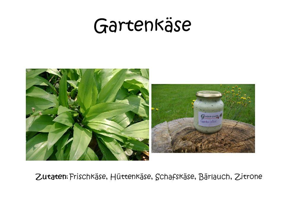 Gartenkäse Zutaten: Frischkäse, Hüttenkäse, Schafskäse, Bärlauch, Zitrone