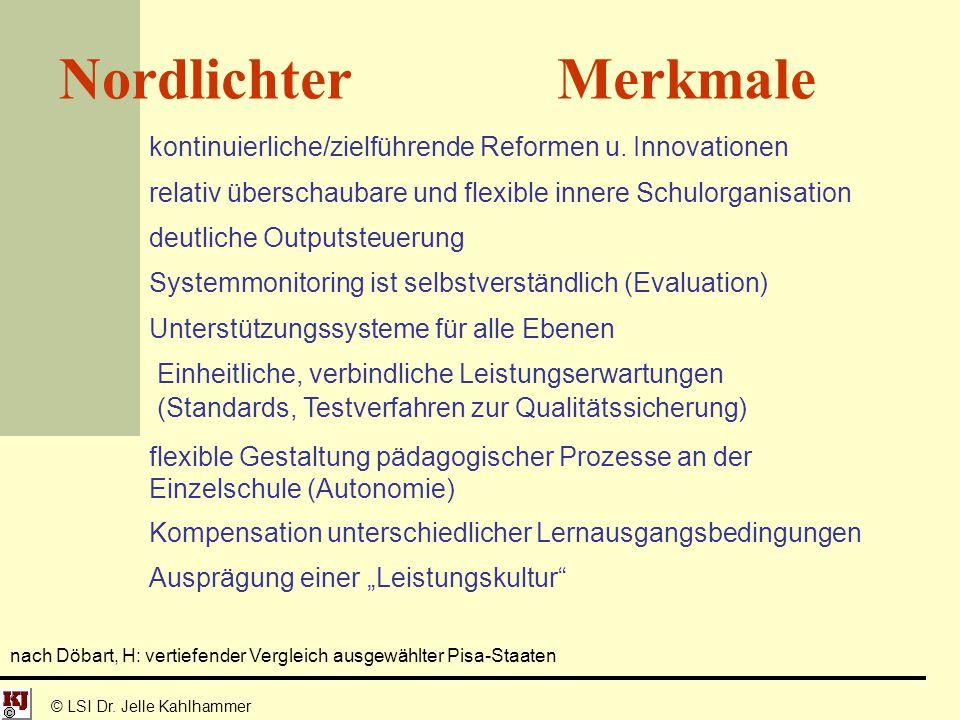 © LSI Dr. Jelle Kahlhammer Nordlichter Merkmale kontinuierliche/zielführende Reformen u. Innovationen relativ überschaubare und flexible innere Schulo