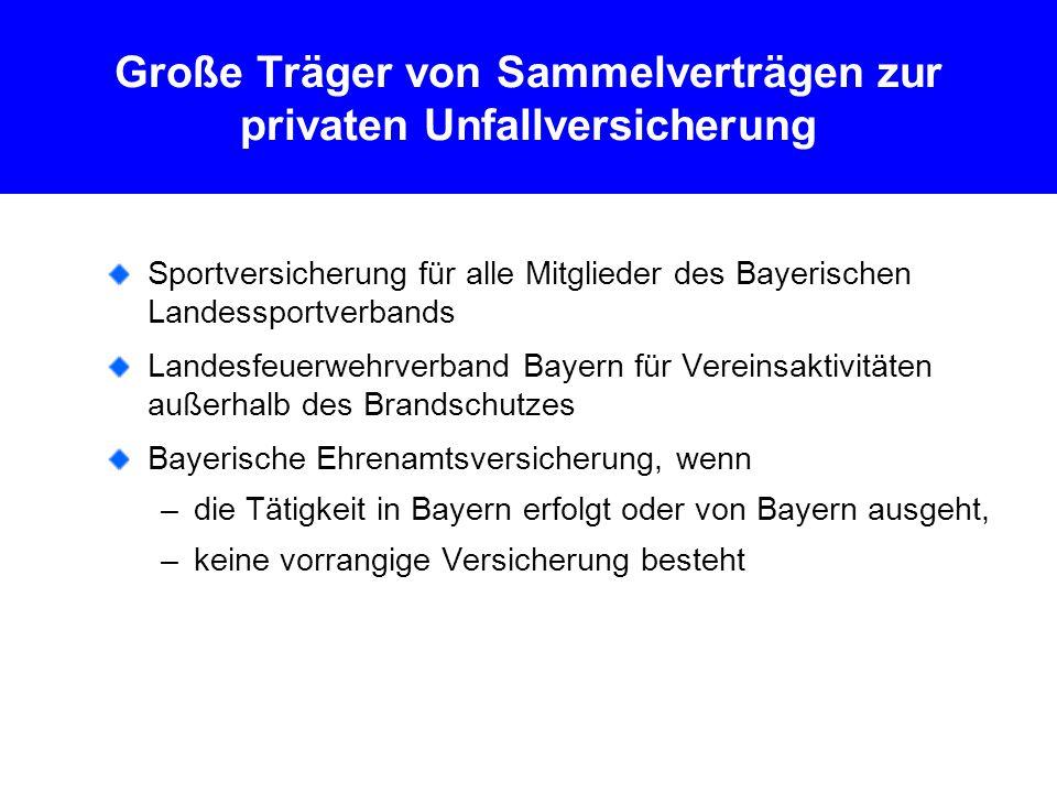 Große Träger von Sammelverträgen zur privaten Unfallversicherung Sportversicherung für alle Mitglieder des Bayerischen Landessportverbands Landesfeuerwehrverband Bayern für Vereinsaktivitäten außerhalb des Brandschutzes Bayerische Ehrenamtsversicherung, wenn –die Tätigkeit in Bayern erfolgt oder von Bayern ausgeht, –keine vorrangige Versicherung besteht