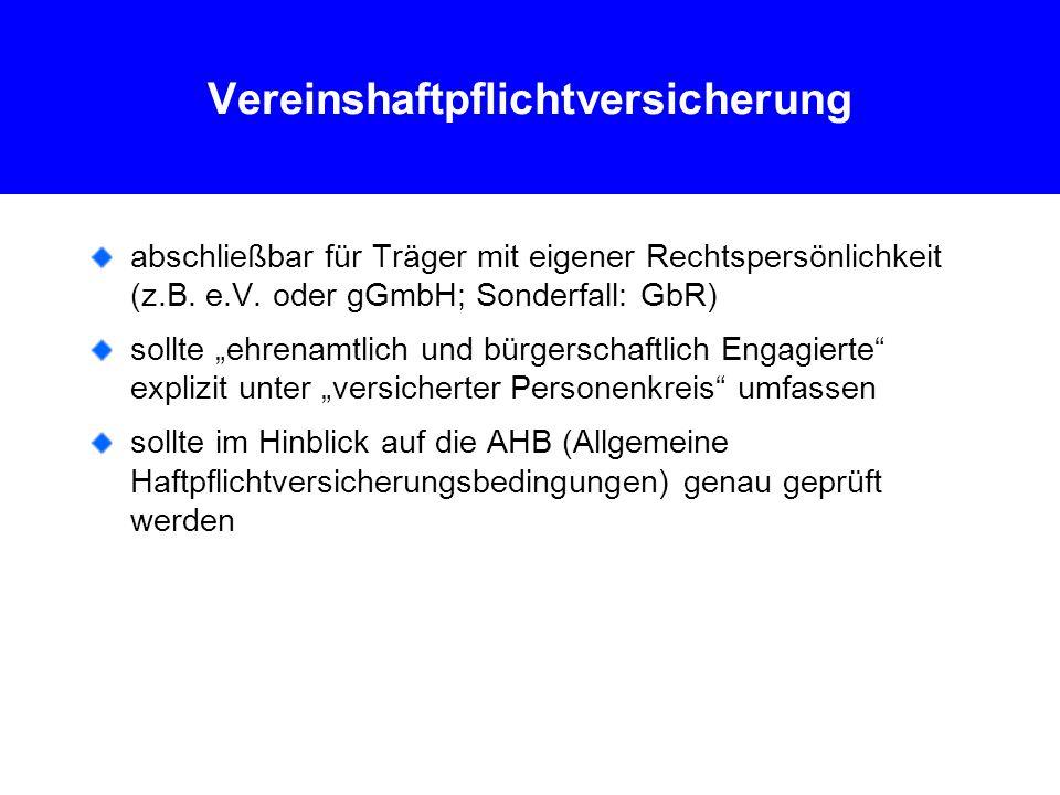 Vereinshaftpflichtversicherung abschließbar für Träger mit eigener Rechtspersönlichkeit (z.B.