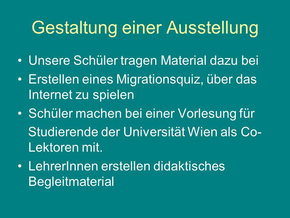 Gestaltung einer Ausstellung Unsere Schüler tragen Material dazu bei Erstellen eines Migrationsquiz, über das Internet zu spielen Schüler machen bei einer Vorlesung für Studierende der Universität Wien als Co- Lektoren mit.