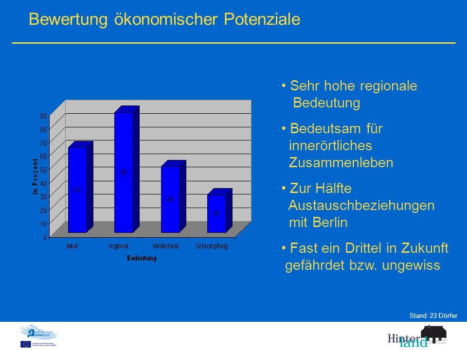 Bewertung ökonomischer Potenziale Sehr hohe regionale Bedeutung Bedeutsam für innerörtliches Zusammenleben Zur Hälfte Austauschbeziehungen mit Berlin Fast ein Drittel in Zukunft gefährdet bzw.