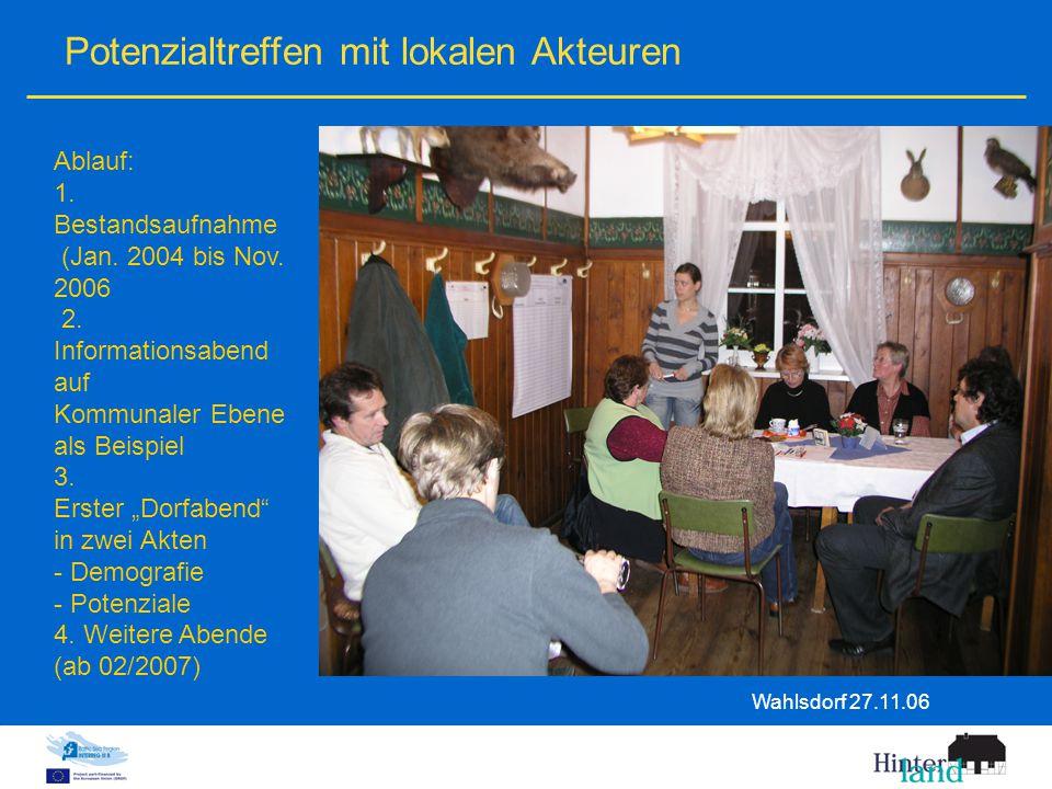 Potenzialtreffen mit lokalen Akteuren Wahlsdorf 27.11.06 Ablauf: 1.