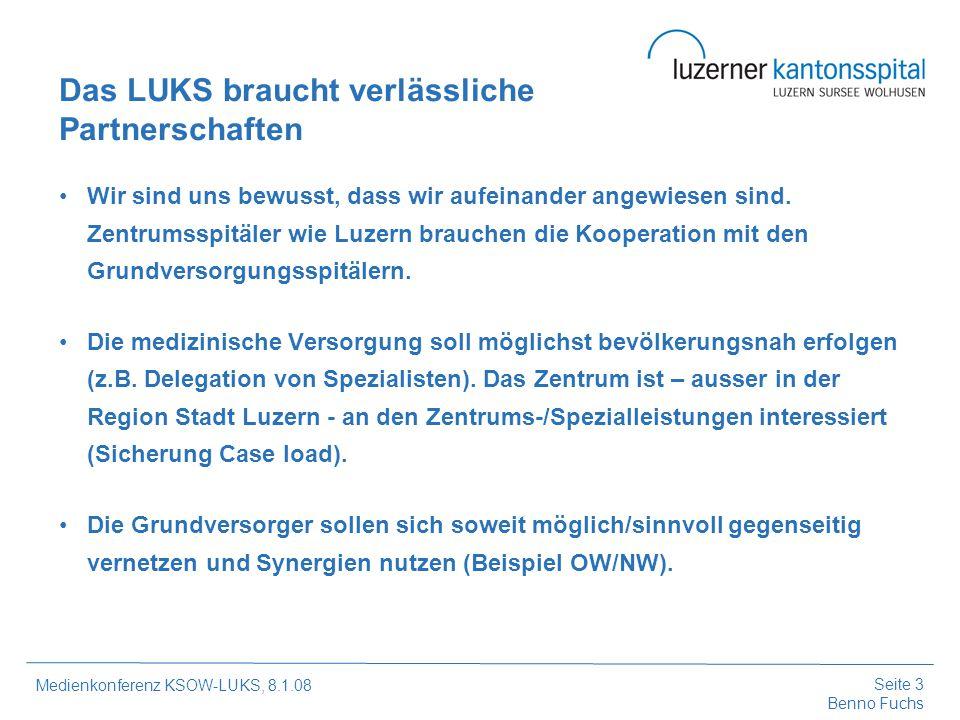 Seite 4 Benno Fuchs Medienkonferenz KSOW-LUKS, 8.1.08 Wir bieten soweit möglich Sicherheit/Hilfeleistung an, wollen aber nicht nur Lückenbüsser sein (z.B.