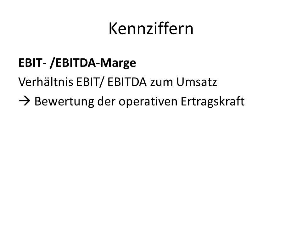 Kennziffern EBIT- /EBITDA-Marge Verhältnis EBIT/ EBITDA zum Umsatz Bewertung der operativen Ertragskraft