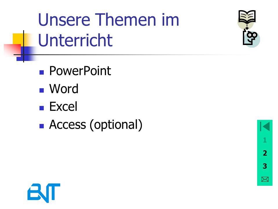 1 2 3 Unsere Themen im Unterricht PowerPoint Word Excel Access (optional)