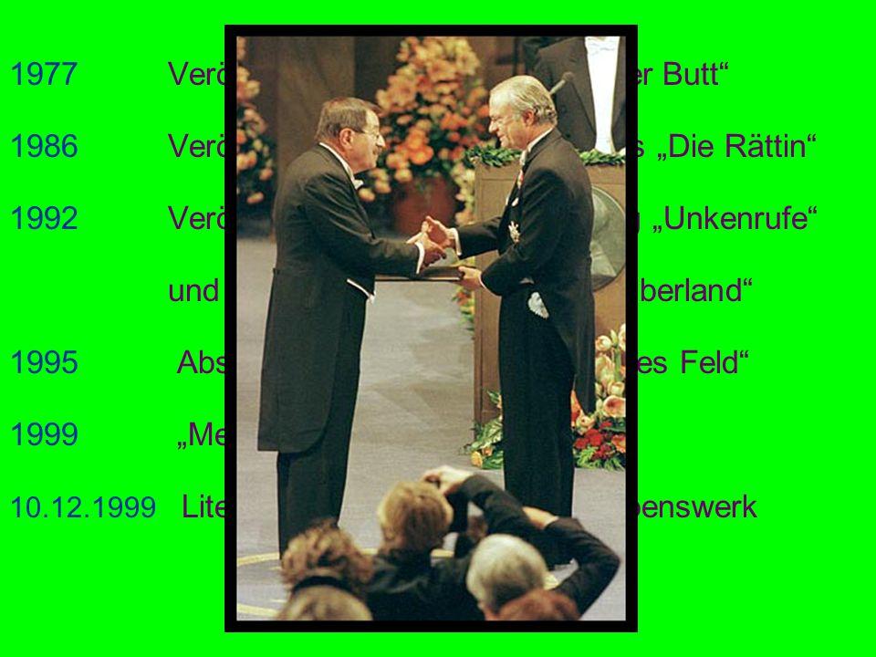 1977 Veröffentlichung des Romans Der Butt 1986 Veröffentlichung des Prosawerkes Die Rättin 1992 Veröffentlichung seiner Erzählung Unkenrufe und der So