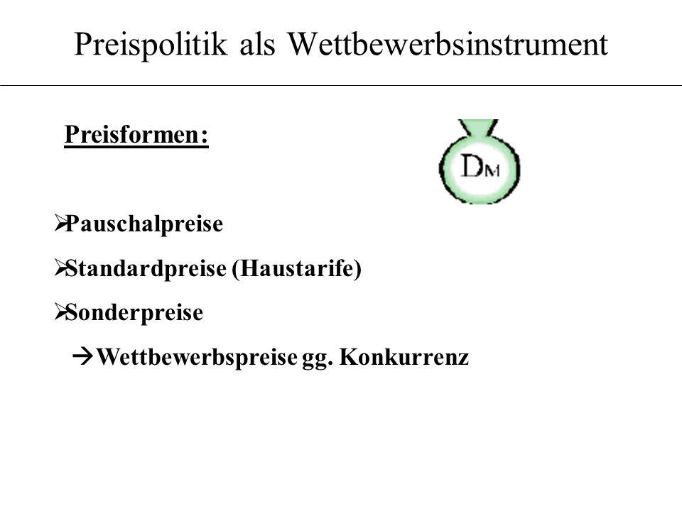 Preispolitik als Wettbewerbsinstrument Pauschalpreise Standardpreise (Haustarife) Sonderpreise Wettbewerbspreise gg.