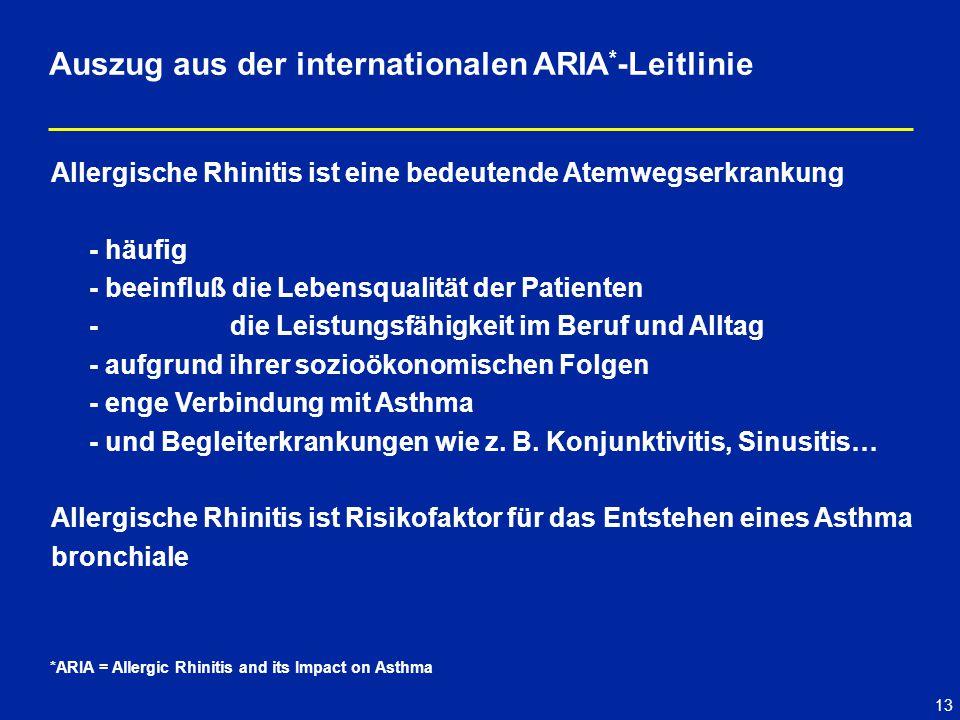 13 Allergische Rhinitis ist eine bedeutende Atemwegserkrankung - häufig - beeinfluß die Lebensqualität der Patienten - die Leistungsfähigkeit im Beruf und Alltag - aufgrund ihrer sozioökonomischen Folgen - enge Verbindung mit Asthma - und Begleiterkrankungen wie z.