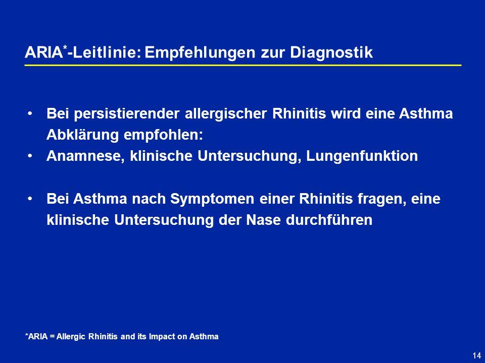 14 Bei persistierender allergischer Rhinitis wird eine Asthma Abklärung empfohlen: Anamnese, klinische Untersuchung, Lungenfunktion Bei Asthma nach Symptomen einer Rhinitis fragen, eine klinische Untersuchung der Nase durchführen ARIA * -Leitlinie: Empfehlungen zur Diagnostik *ARIA = Allergic Rhinitis and its Impact on Asthma