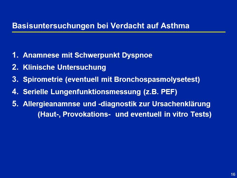 16 1. Anamnese mit Schwerpunkt Dyspnoe 2. Klinische Untersuchung 3. Spirometrie (eventuell mit Bronchospasmolysetest) 4. Serielle Lungenfunktionsmessu
