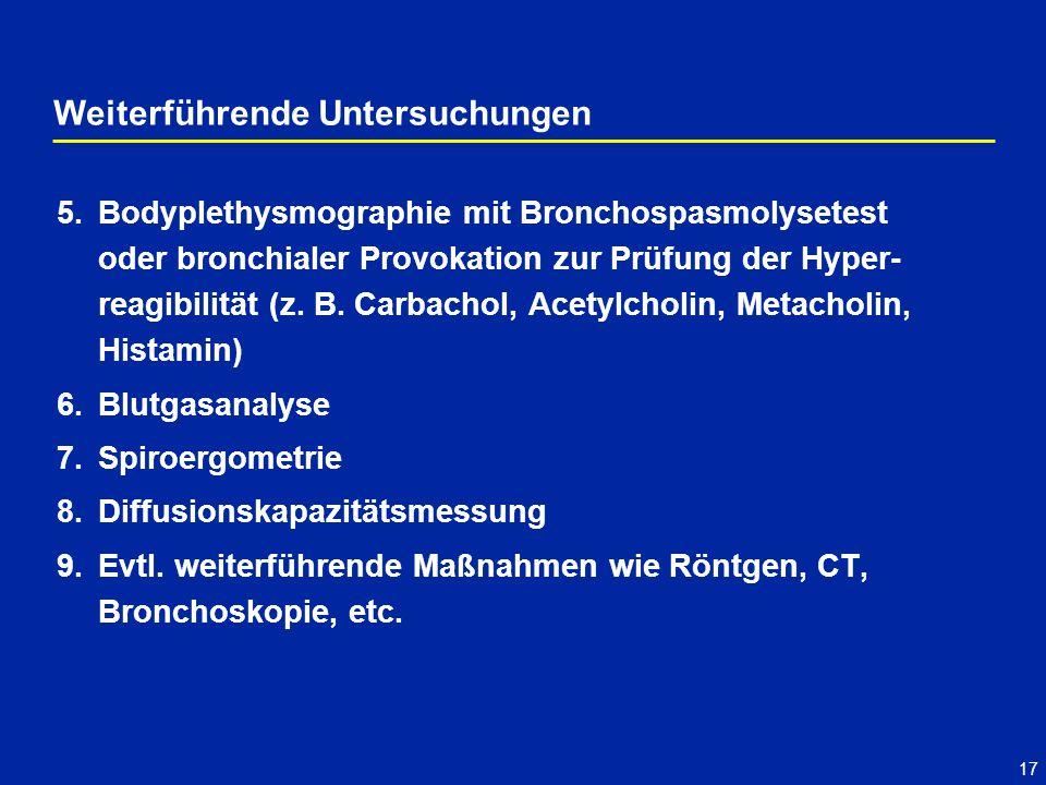17 5.Bodyplethysmographie mit Bronchospasmolysetest oder bronchialer Provokation zur Prüfung der Hyper- reagibilität (z. B. Carbachol, Acetylcholin, M