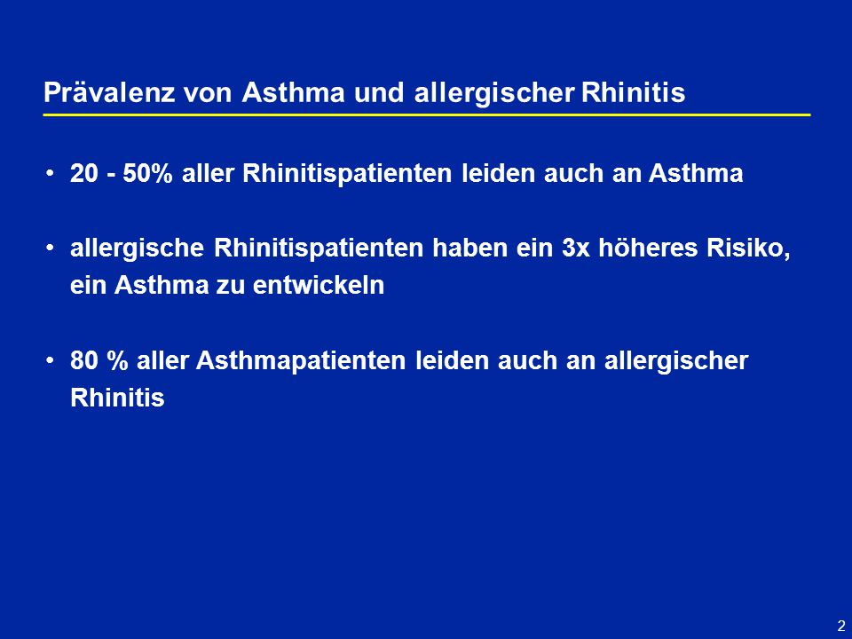 2 Prävalenz von Asthma und allergischer Rhinitis 20 - 50% aller Rhinitispatienten leiden auch an Asthma allergische Rhinitispatienten haben ein 3x höheres Risiko, ein Asthma zu entwickeln 80 % aller Asthmapatienten leiden auch an allergischer Rhinitis