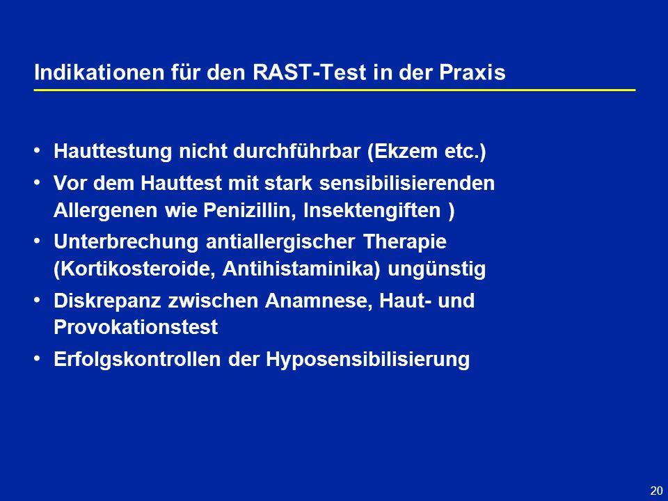 20 Indikationen für den RAST-Test in der Praxis Hauttestung nicht durchführbar (Ekzem etc.) Vor dem Hauttest mit stark sensibilisierenden Allergenen w