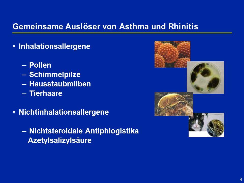 4 Inhalationsallergene – Pollen – Schimmelpilze – Hausstaubmilben – Tierhaare Nichtinhalationsallergene – Nichtsteroidale Antiphlogistika Azetylsalizylsäure Gemeinsame Auslöser von Asthma und Rhinitis
