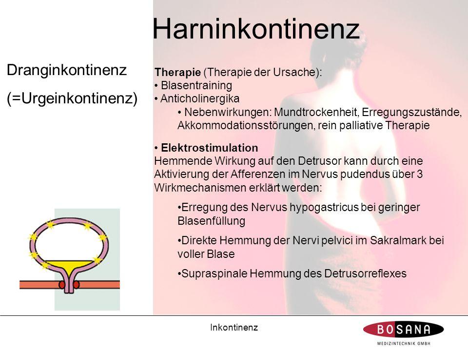 Inkontinenz Harninkontinenz Dranginkontinenz (=Urgeinkontinenz) Therapie (Therapie der Ursache): Blasentraining Anticholinergika Nebenwirkungen: Mundt